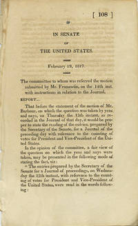 In Senate of the United States. February 19, 1817. The committee to whom was referred the motion submitted by Mr. Fromentin on the 14th inst. with instructions in relation to the Journal, Report ...