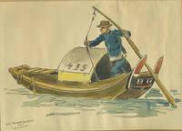 Shanghai Fisherman and Sampan.  Original watercolor painting