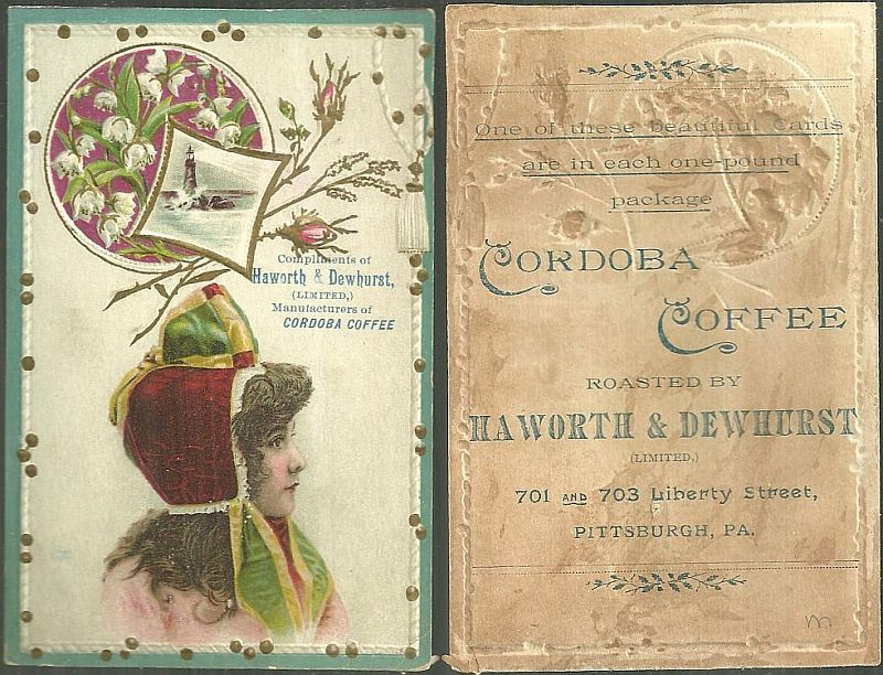 VICTORIAN TRADE CARD FOR CORDOBA COFFEE WITH LOVELY LADY AND FLOWERS, Advertisement