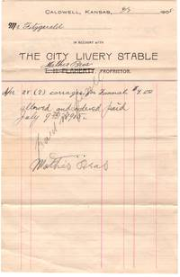 1905 Billhead, The City Livery Stable of Caldwell, Kansas for two funeral carriages