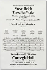 image of Three New Works: Music for a Large Ensemble (1978), Octet (1979), Variations for Winds, Strings and Keyboards (1979) - Carnegie Hall 1980 (Original Poster)