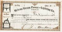 STOCK CERTIFICATE FOR 15 SHARES IN THE HELENA STEAM POWER AND LIGHTING COMPANY