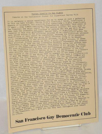 San Francisco: San Francisco Gay Democratic Club, 1977. Single 8.5x11 inch handbill printed one side...