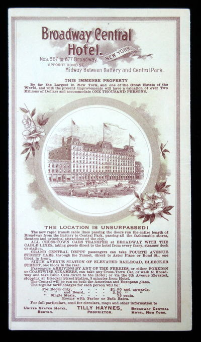 Tilly Haynes acquired the hotel in 1892 and changed the name to Broadway Central from the Broadway G...