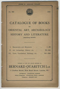 A catalogue of books on Oriental art, archaeology[,] history and literature (excluding Egypt).