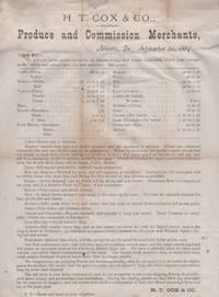 H. T. Cox & Co., Produce and Commission Merchants, Atlanta, Ga, September 26, 1879