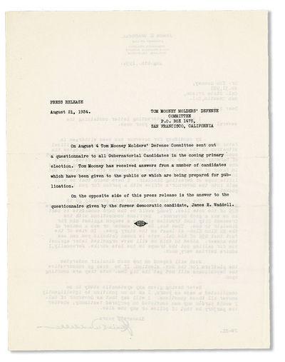 San Francisco: Tom Mooney Molders' Defense Committee, 1934. Broadsheet (29x21.5cm.) printed from typ...