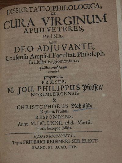 Koenigsberg: Friedrich Reusner, 1672. First Edition. Quarto, 15 leaves. Woodcut historiated head and...