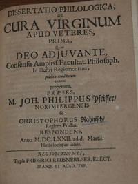 DISSERTATIO PHILOLOGICA,; de cura virginum apud veretes