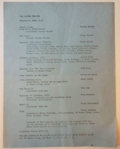 New York: Living Theatre, 1962. First edition. Loose Sheets. Very Good. Single sheet of blue paper m...
