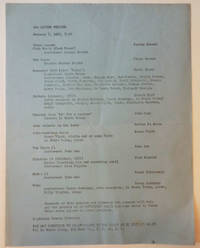 Announcement Sheet for a series of performances on January 8, 1962 at the Living Theatre