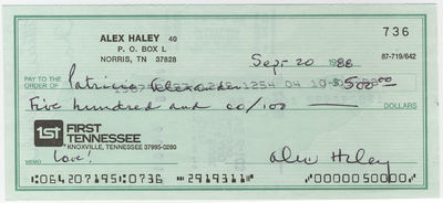 ALEX HALEY. Signed Check, September 20, 1988. Drawn on the First Tennessee Bank in Knoxville. To
