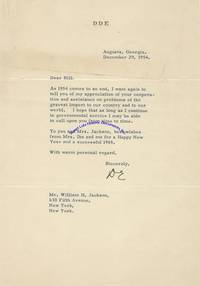 A Dwight Eisenhower New Years Letter Signed As President