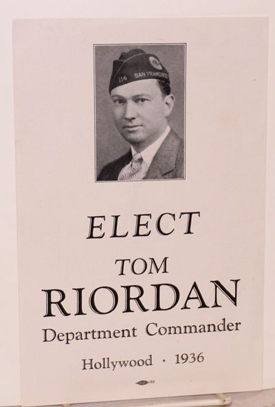 : , 1936. 5.5x8.5 inch single sheet semi-glossy leaflet with photo of the candidate wearing a San Fr...