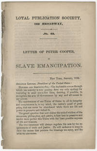 Peter Cooper's Letter to Lincoln Regarding Emancipation