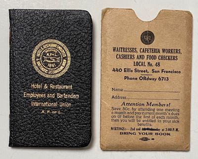 San Francisco: Local 48, 1955. Small booklet in stiff wraps, filled out for Toby (Mable) Rice, with ...