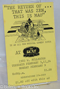 image of The Return of...That Was Zen, This Is Mao [leaflet] in an all new musical comedy revue at The Roxy, 1505 W. Fullerton