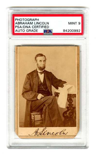 A Superb Abraham Lincoln Signed Photo Authenticated, Slabbed, and Graded Mint 9 by PSA - A Resolute ...