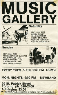 image of Original flyer for two performances at the Music Gallery by Derek Bailey and The Saxophone Quartet, 1984