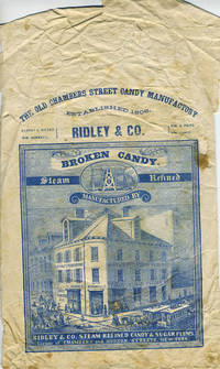 Ridley & Co. candy packaging with engraving of the original store at Chambers & Hudson Streets, New York City