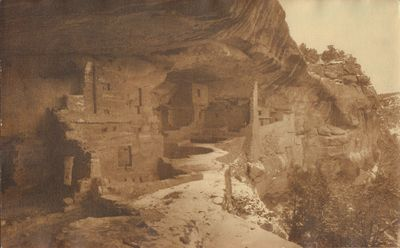 Very Good. Toned photograph of Balcony House, Mesa Verde National Park in winter. Photograph taken a...