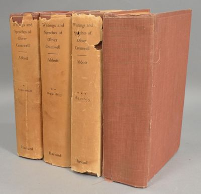 1937. ABBOTT, Wilbur Cortez. WRITINGS AND SPEECHES OF OLIVER CROMWELL, 4 VOLUMES. Cambridge, MA: Har...
