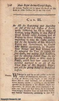 PAPISTS ACT 1723 c. 3. An Act for Explaining and Amending an Act of the late Session of...