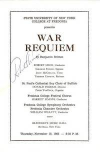 WAR REQUIEM:  Robert Shaw, Conductor  [signed programme].; State University of New York, College at Fredonia, November 18, 1965