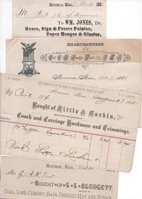 GROUP OF TEN (10) RECEIPTS ON VARIOUS BILLHEADS, WRITTEN AT MERRIMAC, MASSACHUSETTS, 1883-1910.