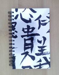 Silver with Black Kanji-like Characters Cover, Blank Journal