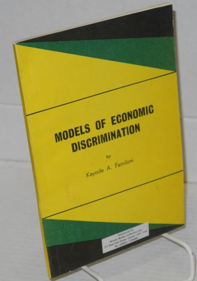 Oxford: African Books Collective, 1990. 91p., wraps. The African American economist teaches in Niger...