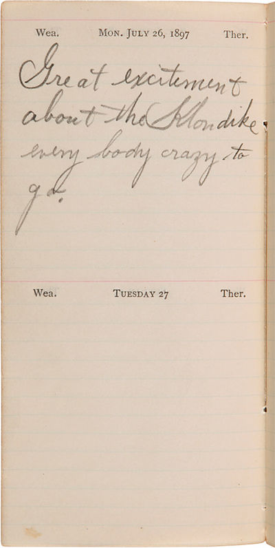 , 1897. pp. comprised of printed pages with the remainder being diary space completed in manuscript,...