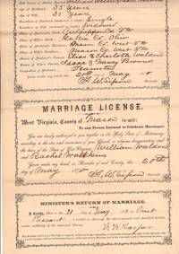 1870 Certificate to Obtain Marriage License, Completed License, and Minister's Return - West Virginia