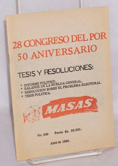 Bolivia: Ediciones Masas, 1985. 33 p., wraps, text in Spanish.