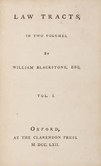 Law Tracts, In Two Volumes. Oxford, 1762. First edition