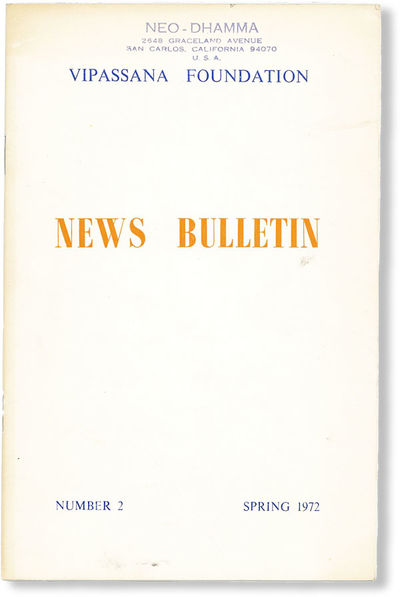, 1972. First Edition. Octavo; publisher's white staplebound card wrappers printed in blue and orang...