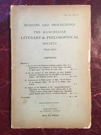 On The Question Of Irish Influence On Early Icelandic Literature. Memoirs And Proceedings Of The Manchester Literary And Philosophical Society 1899-1900 Vol.44 Part Ib