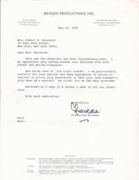 "TYPED LETTER TO THE WIDOW OF ROBERT E. SHERWOOD ABOUT THE FAILURE OF ""DANCE A LITTLE CLOSER"" SIGNED BY PRODUCER FREDERICK BRISSON."