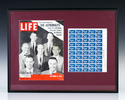 Single sheet of fifty four-cent stamps signed by all of the Mercury Seven, as follows: Malcolm Scott...