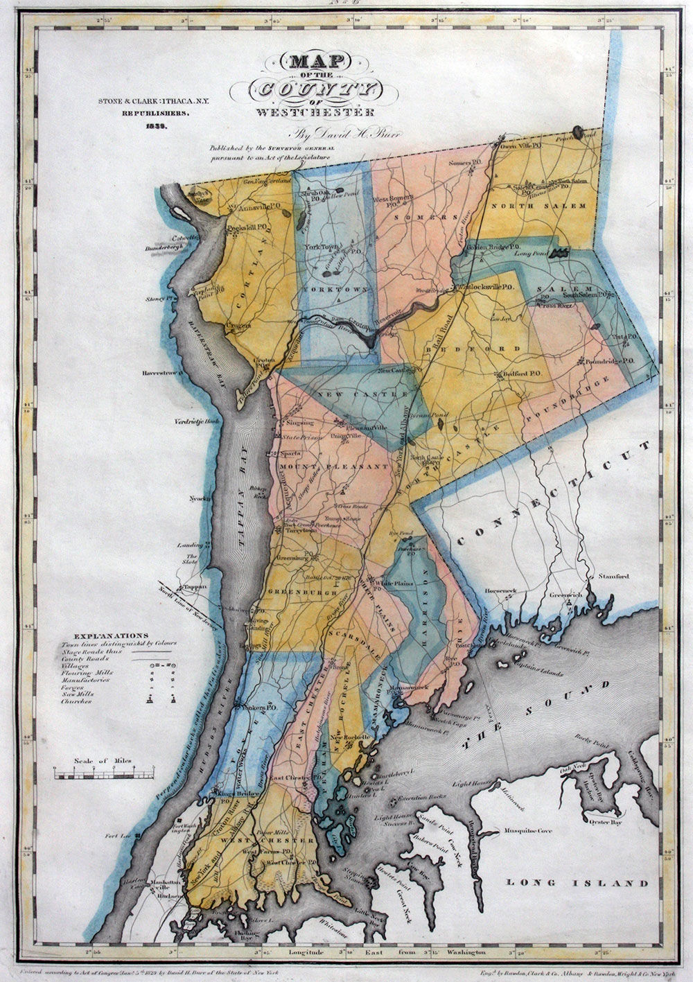 Map of the County of Westchester by David H Burr - 1840 ...
