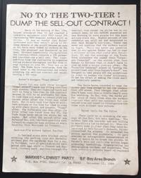 image of No to the two-tier! Dump the sell-out contract! [handbill]