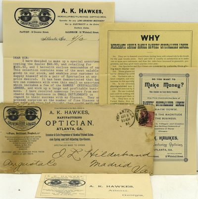 Atlanta, Georgia: A. K. Hawkes, 1891. Group of ephemeral items showing the gift of a 'special assort...