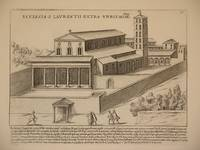 Ecclesia S. Laurentii Extra Urbis Moniae (Basilica of Saint Lawrence outside the Walls, Rome/Basilica Papale di San Lorenzo fuori le Mura, Roma): Original Engraving by Domenico De Rossi (after Giacomo Lauro). Plate 31 from Collectio Antiquitatum Urbis : Una Cum Alijs Recentioribus