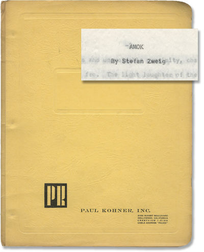 N.p.: N.p., 1960. Treatment script for an unproduced film. Based on the 1922 novella by the same aut...
