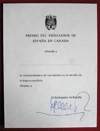Ex-praemio Québec. Ambassade d'Espagne au Canada