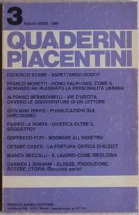 QUADERNI PIACENTINI SOMMARIO N. 3, 1981