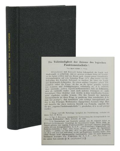 Leipzig: Akademische Verlagsgesellschaft, 1930. First Edition. Very Good. Kurt Gödel's paper