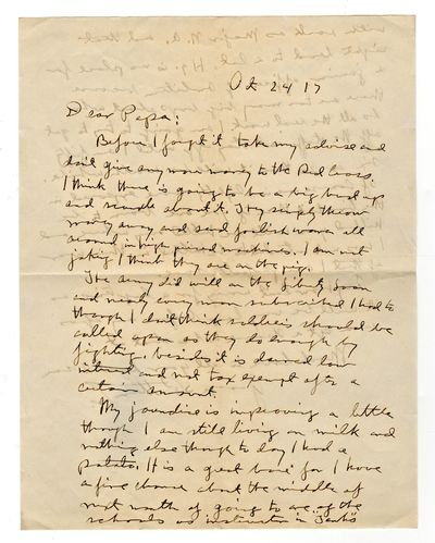 GEORGE S. PATTON JR., Autograph Letter Initialed, to his father, George S. Patton, January 10, 1918,...