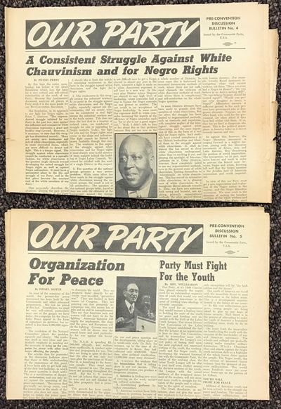New York: CPUSA, 1950. Two issues of the tabloid newspaper-format bulletin, the first one (no. 4) ed...