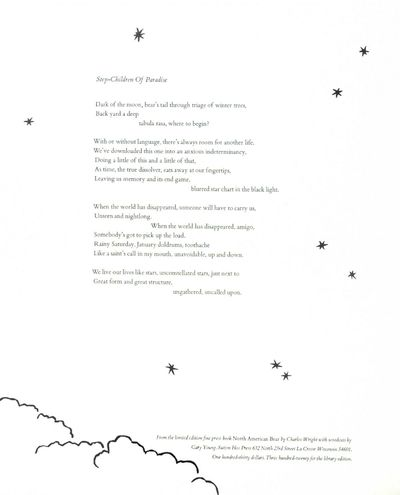 LaCross WI: Sutton Hoo Press, 1999. Fine. A beautiful broadside of this poem taken from Wright's lim...